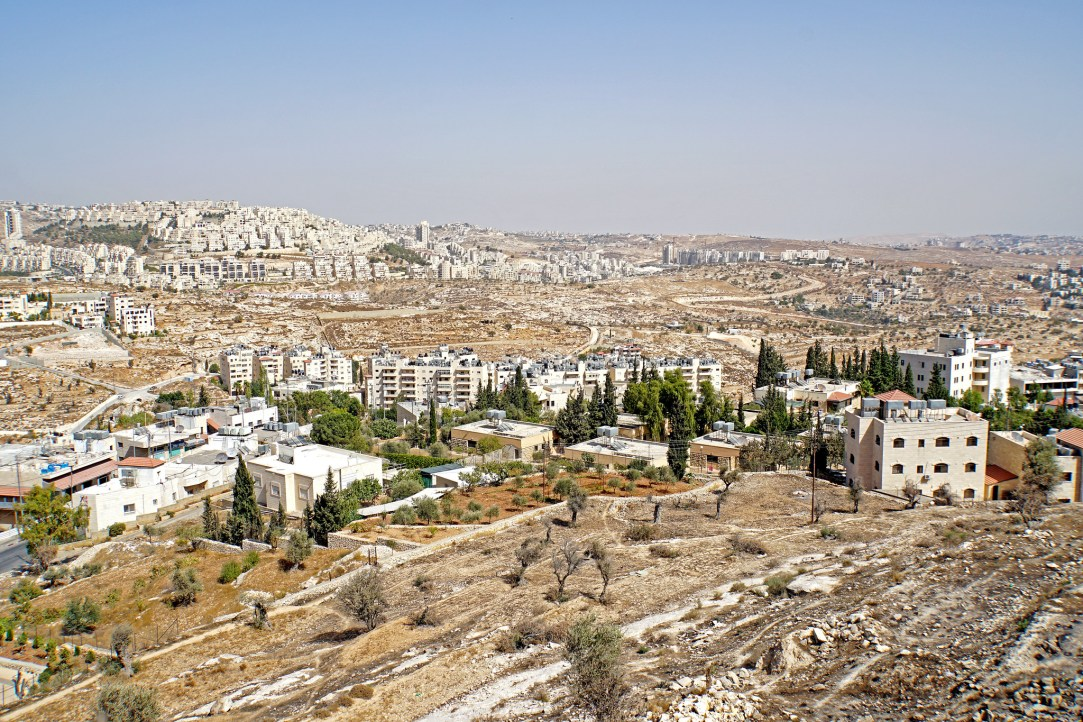 Landscape view of the West Bank showing buildings from Bethlehem.
