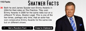 Apple widget that spits out random facts about William Shatner.