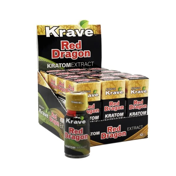 krave red dragon kratom extract liquid shot box