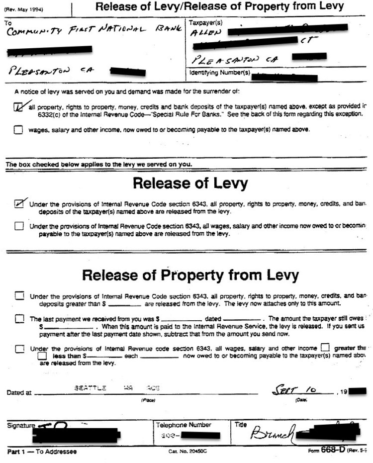 Actual IRS Bank Levy Release Confirmation Letter for Allen