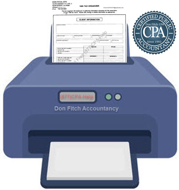 1995 Tax Organizer - Click on the above to Download the 1995 Tax Organizer in pdf format