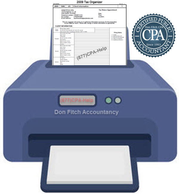 2009 Tax Organizer - Click on the above to Download the 2009 Tax Organizer in pdf format