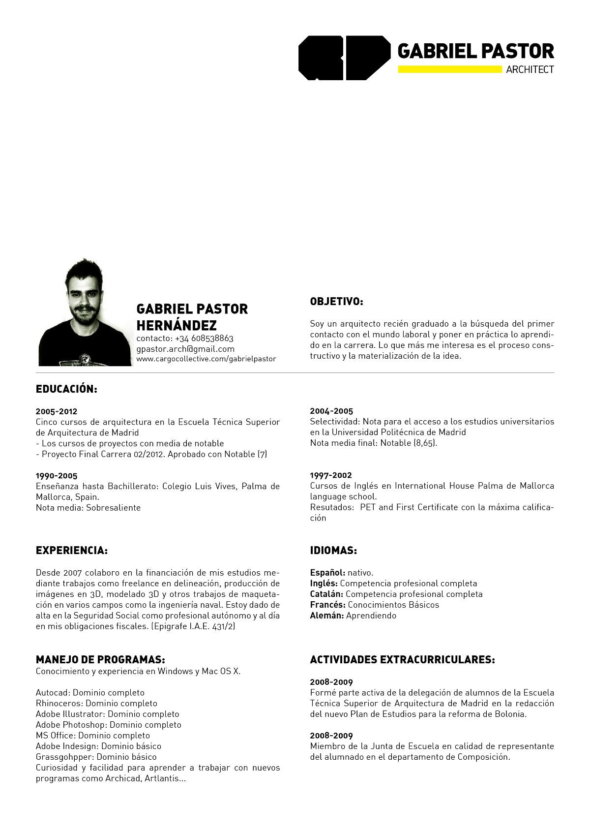 Curriculum Vitae (Esp//Eng) - gabrielpastorarch