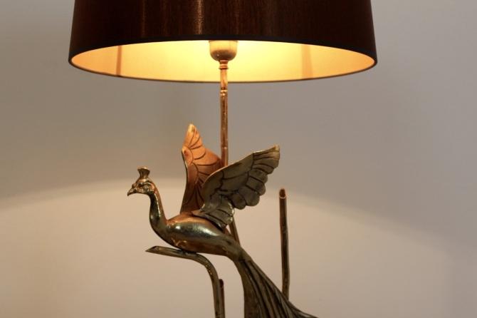 Gilt Metal On Travertine Peacock Lamp Mooiestukken