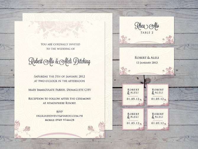 Indesign invitation newsinvitation above wedding invitation design with matching name cards and thank you theme colors are pink white stopboris Choice Image