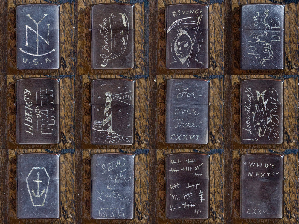 etched zippos by Jon Contino