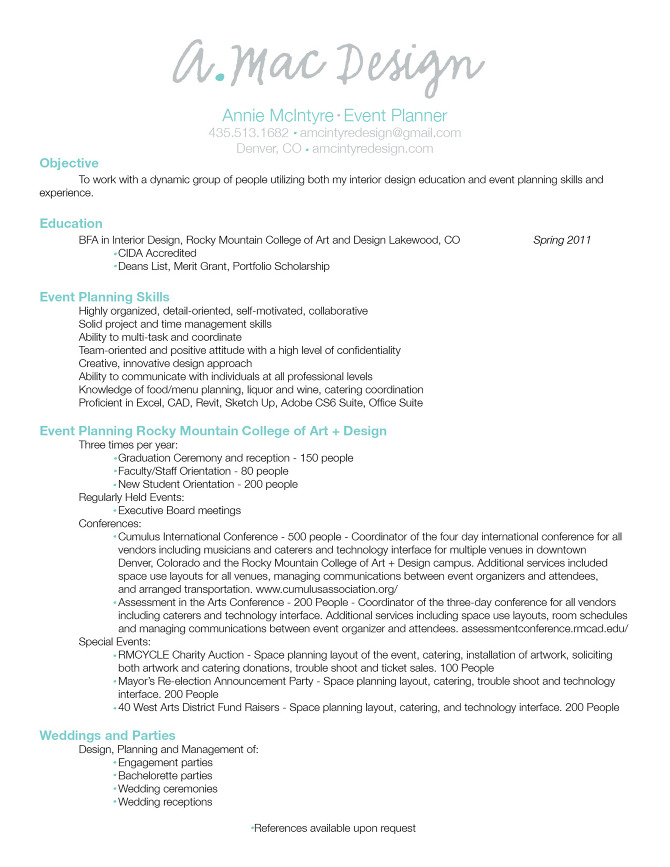 Event Planning Resume Objective resume resume for event planner – Event Planner Resume Objective