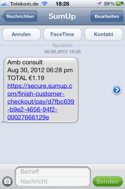 SMS mit Link sumup