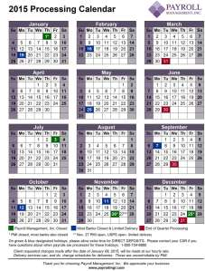 2015 Payroll Processing Calendar