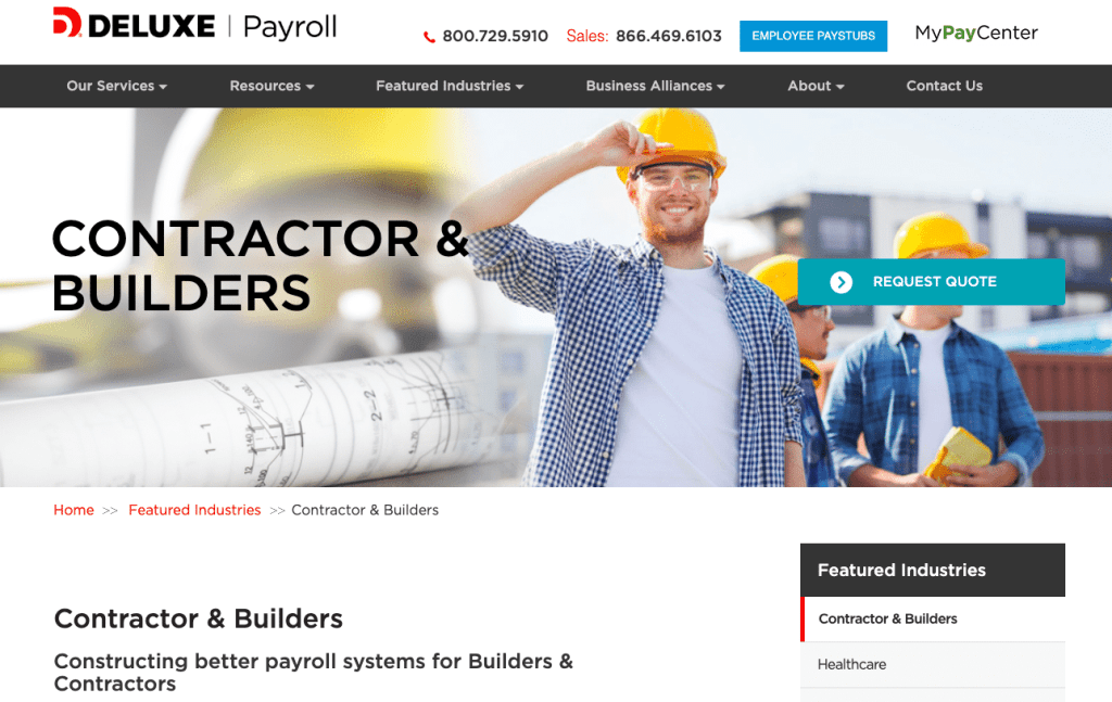 deluxe payroll for contractors