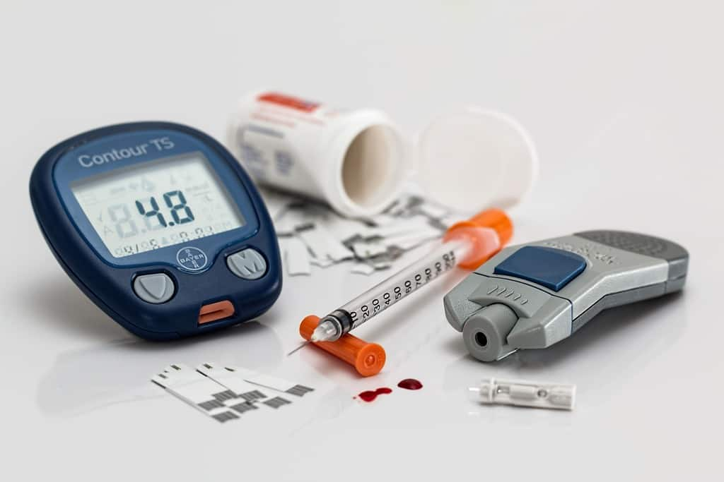 diabetic blood testing meter and supplies