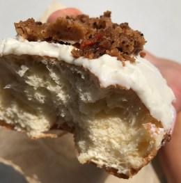 Inside shot of the carrot cake donut
