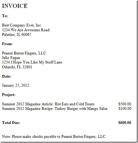 freelance invoice