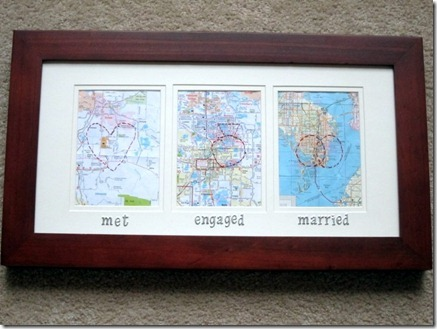 met engaged married map craft