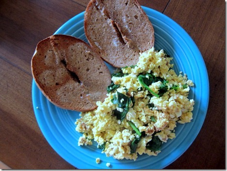 scrambled eggs spinach