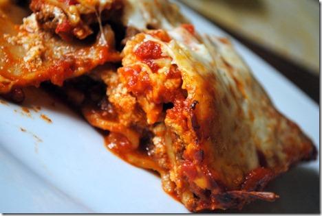 lasagna cut in half
