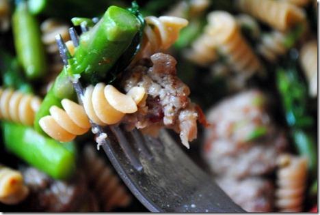 pasta asparagus meatball