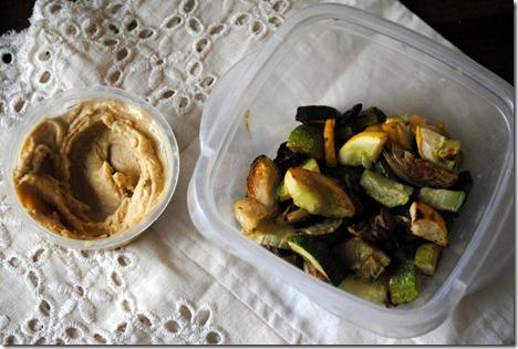roasted vegetables and hummus