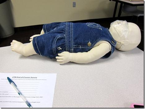CPR baby mannequin