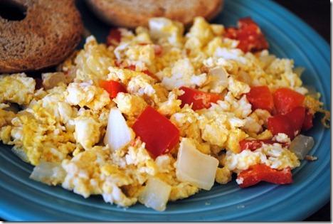 scrambled eggs peppers onions