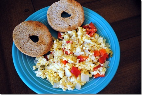 scrambled eggs with alouette cheese
