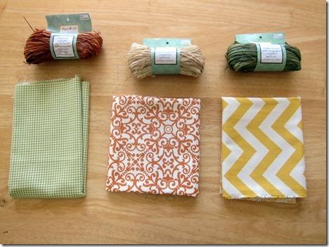 fabric and raffia