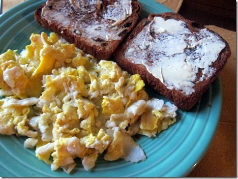 scrambled eggs and buttered toast