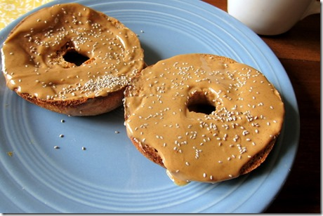 Bagel with peanut butter and chia seeds