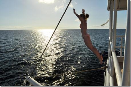 Jumping off boat Galapagos
