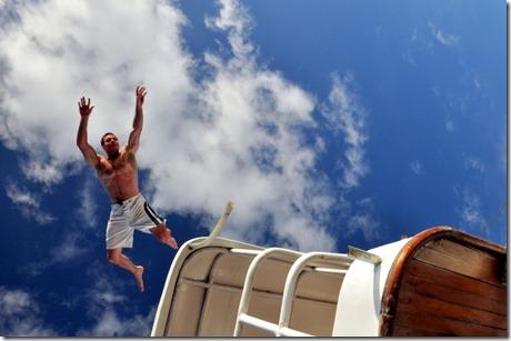 Ryan jumping off boat