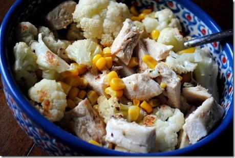 Cauliflower Chicken and Corn