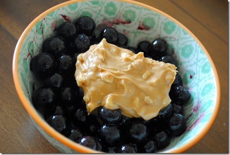 almond butter and blueberries