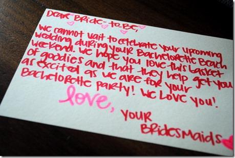 Bachelorette Party Gift Basket Note
