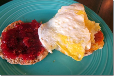egg sandwich with cheese and jelly