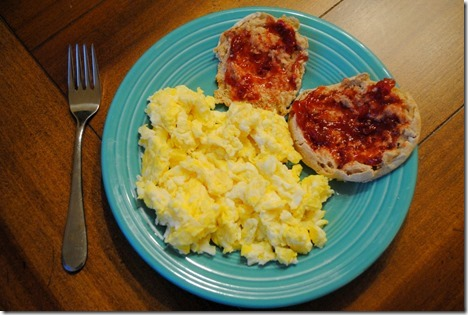 scrambled eggs strawberry jam