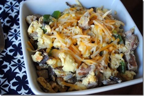 scrambled eggs with chicken sausage and cheese