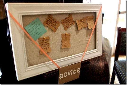 Bridal Shower Advice Board