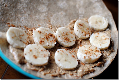 Almond butter and banana breakfast quesadilla