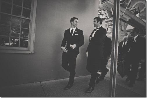 Groomsmen walking to wedding ceremony
