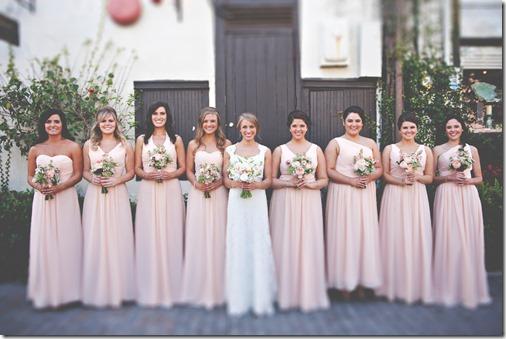 Leslie's Bridesmaids in Peach Dresses