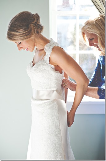 Putting on the Wedding Dress