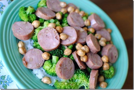 chickpeas chicken sausage and broccoli