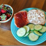 Almond butter and jelly with cucumber slices