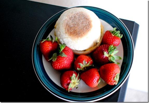 Egg Sandwich Strawberries