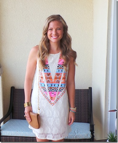 White Plum Aztec Dress