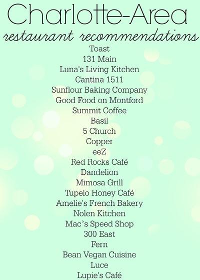 Charlotte Restaurant Recommendations