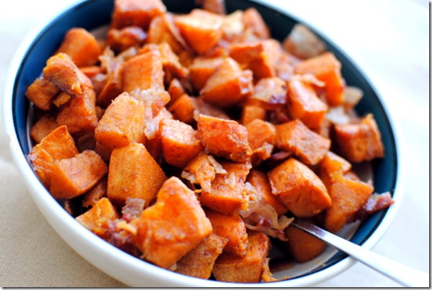 Cinnamon Roasted Sweet Potatoes with Bacon