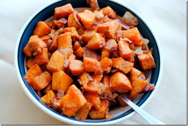 Roasted Cinnamon Sweet Potatoes with Bacon