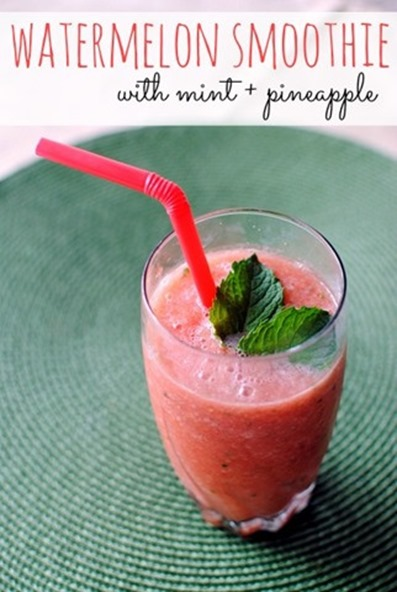 Watermelon Smoothie with Mint and Pineapple