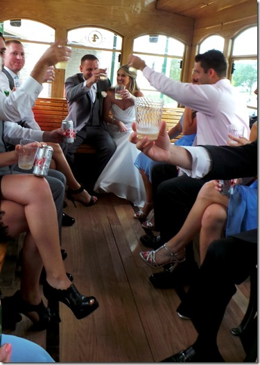 champagne toast in trolley